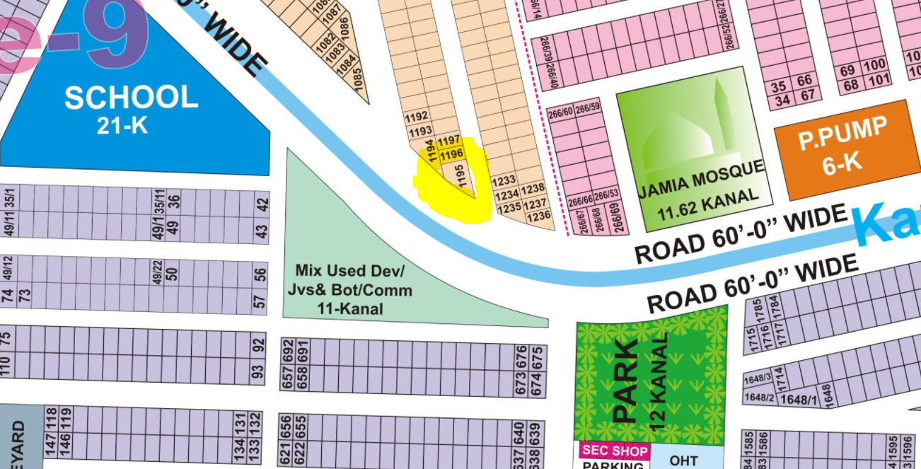 B 1195 Corner And Top Location Plot On 120 Foot Road Near Large Mosque, Park And Petrol Pump At 9 Town